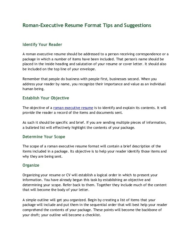 RomanExecutive Resume Format Tips and Suggestions