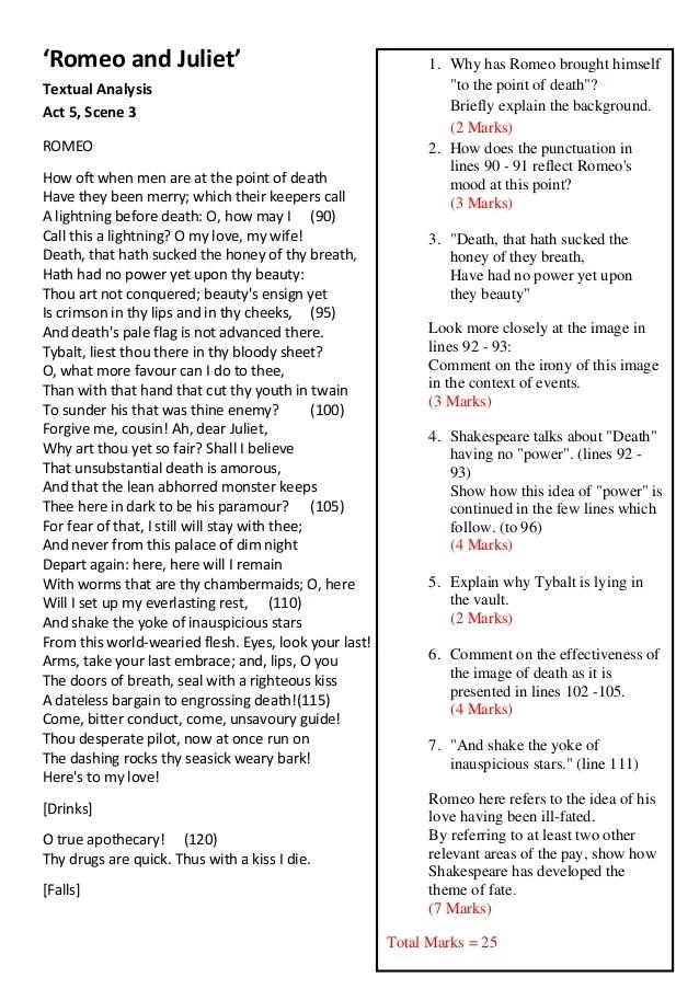 Romeo and juliet act 5 scene 3 textual analysis