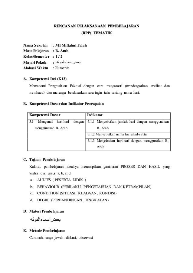 Rpp Bahasa Arab Kelas 6 Mi Kurikulum 2013 : bahasa, kelas, kurikulum, Bahasa, Miftahul, Falah)nurul, Mahmudah,s.pd.i