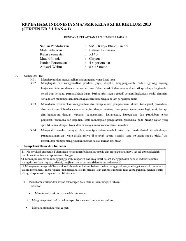 RPP Bahasa Indonesia SMA/SMK Kelas X Kurikulum 2013 Revisi...