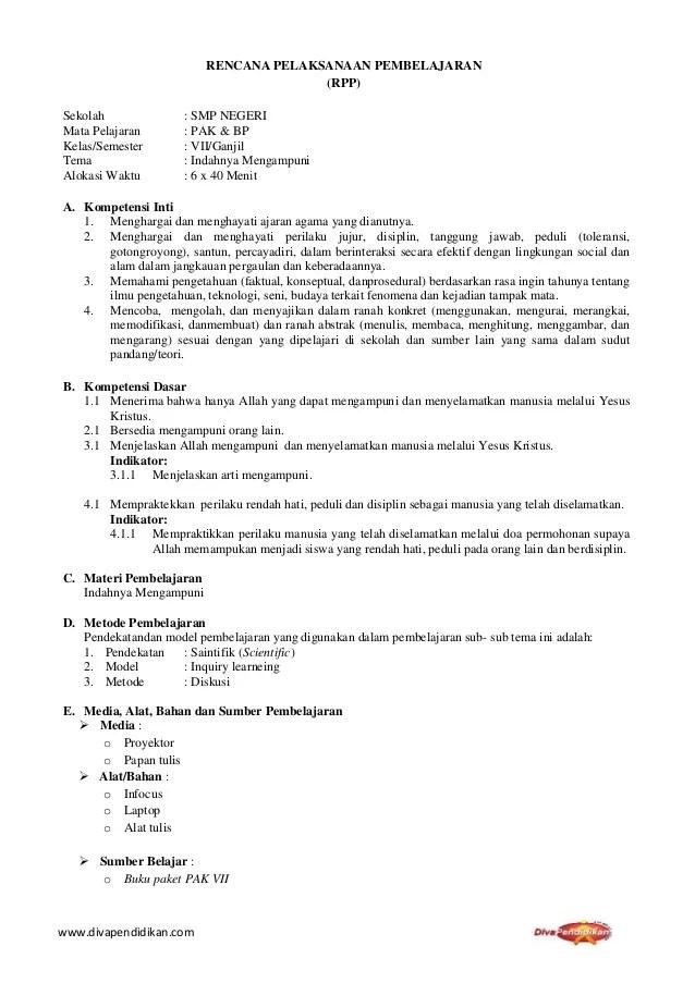 Silabus RPP Pendidikan Agama Kristen Bag. 4: RPP PAK SMP Kelas...