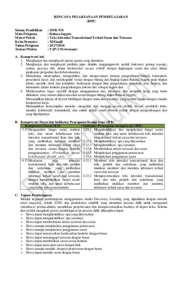 Rpp Kurikulum 2013 Revisi 2017 : kurikulum, revisi, Revisi, Bahasa, Inggris