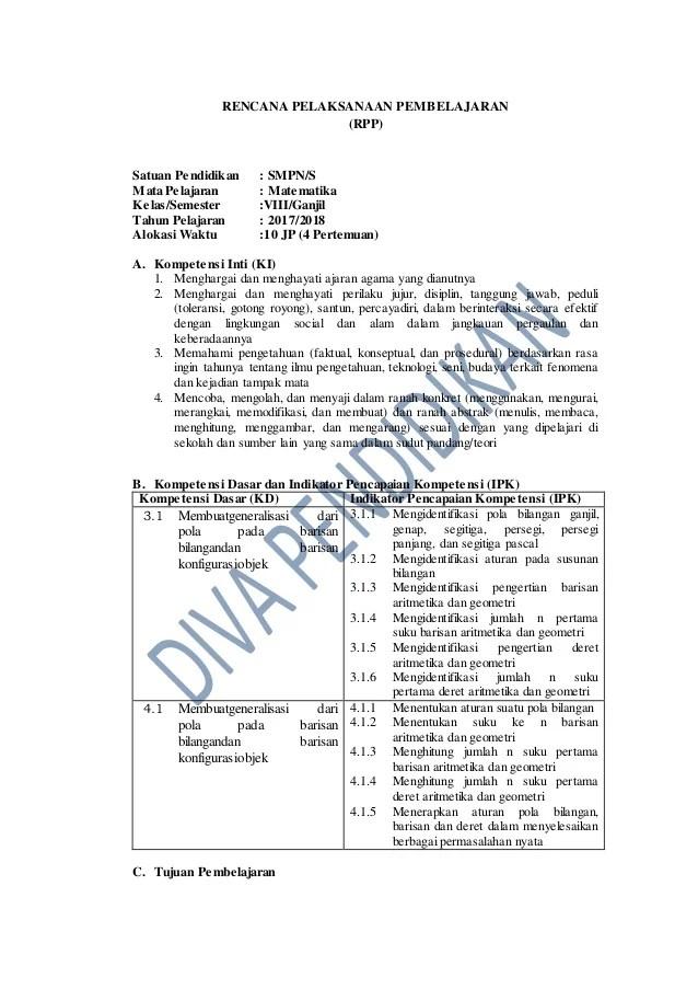 Rpp K13 Smp Revisi 2018 : revisi, Kelas, Matematika, IlmuSosial.id