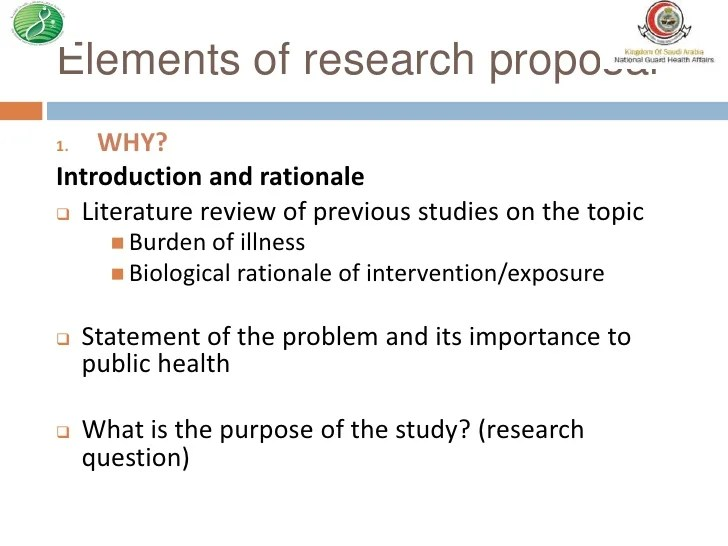 Rationale Of Study In Research Proposal