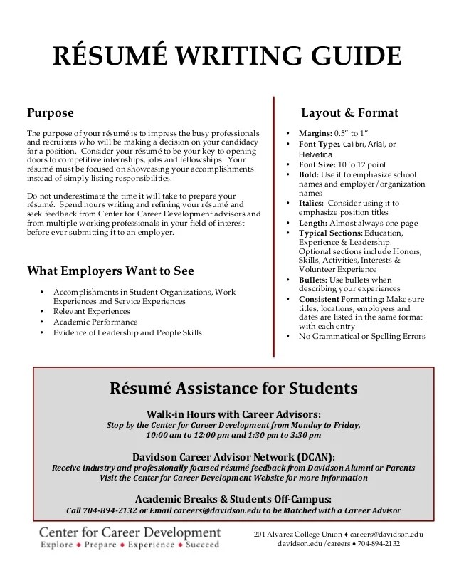 guide to resume writing for students
