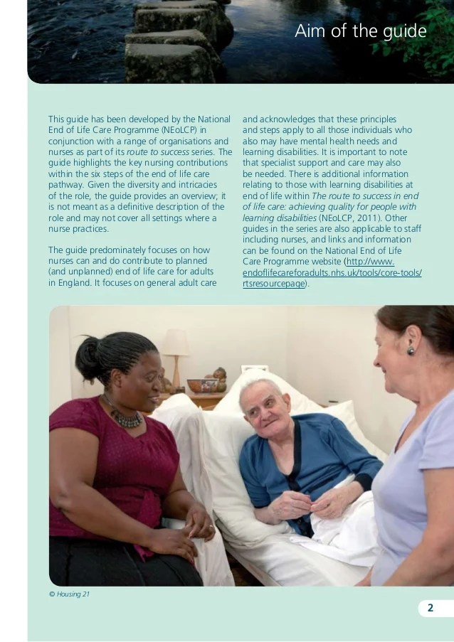 Route to success the key contribution of nursing to end of life care