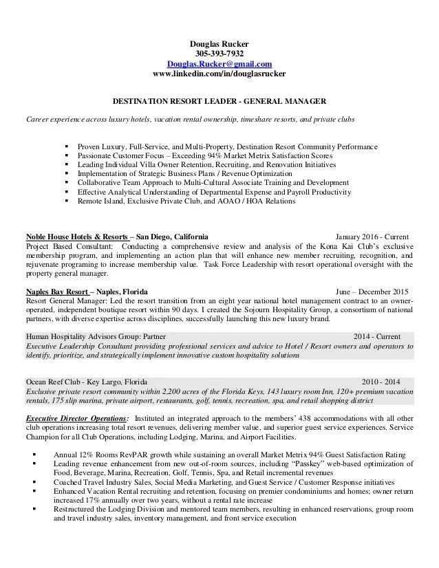 Douglas Rucker 2016 General Manager Resume