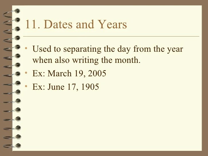 where to put commas in dates