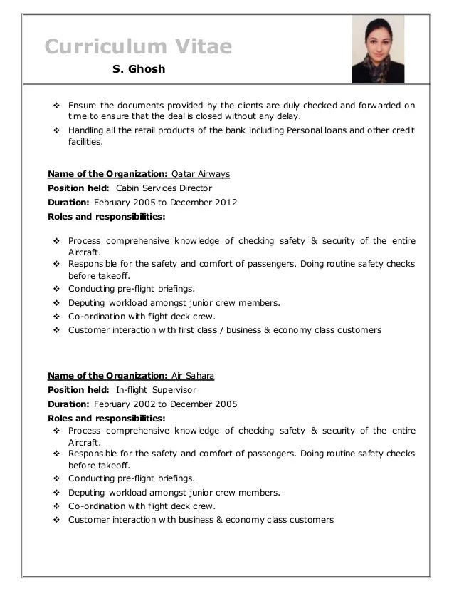 Sample Resume For Qatar Airways Choice Image Certificate