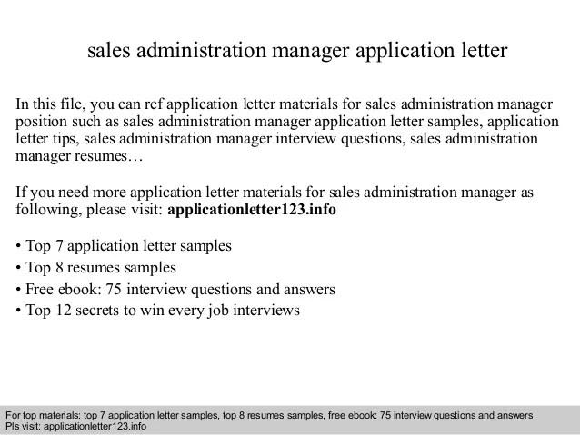 Sales Administration Manager Application Letter