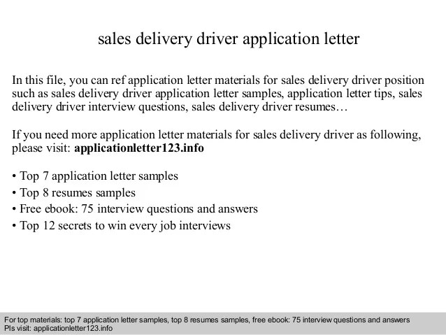 Sales delivery driver application letter