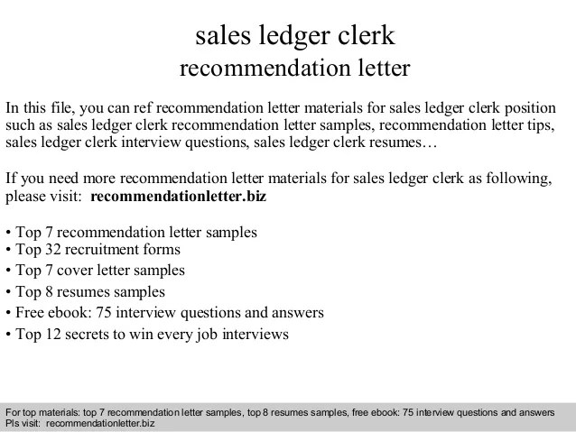 Sales ledger clerk recommendation letter