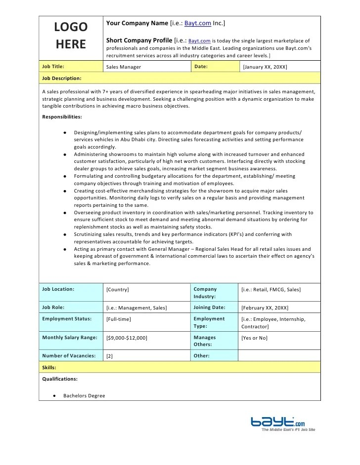 Sales Manager Job Description Template By Bayt Com