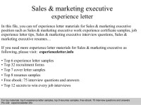 Sales & marketing executive experience letter