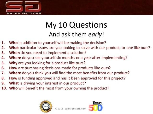 Sales Presentation Top 10 Questions