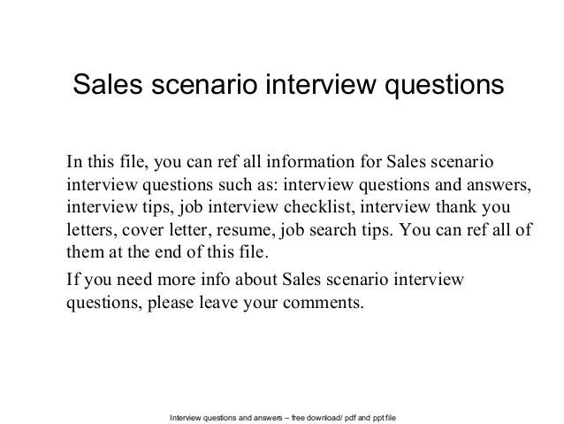 Sales Scenario Interview Questions