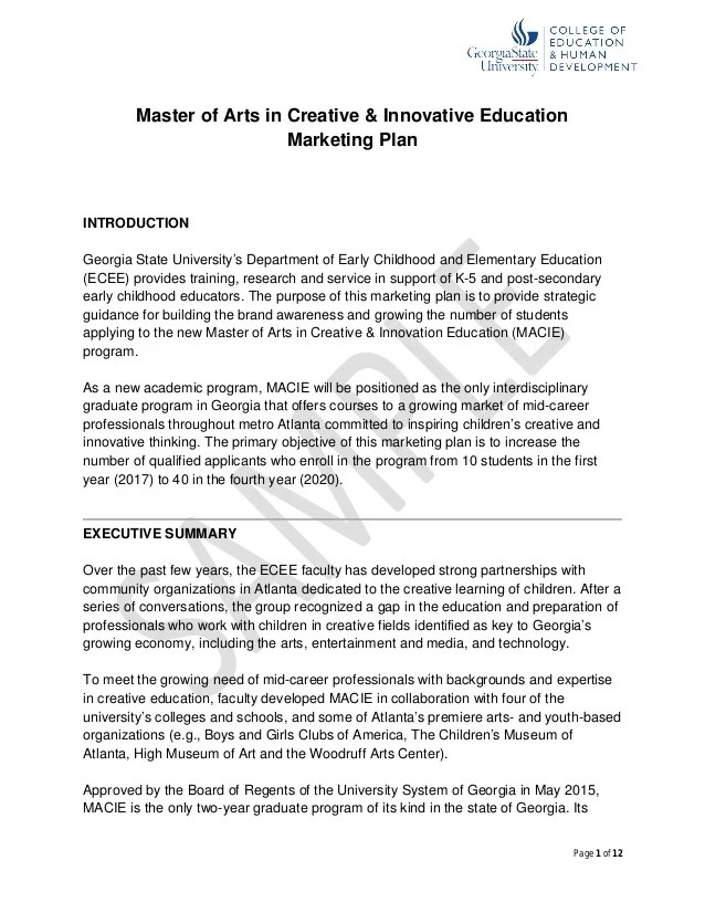 Sample Graduate Program Content Marketing Plan