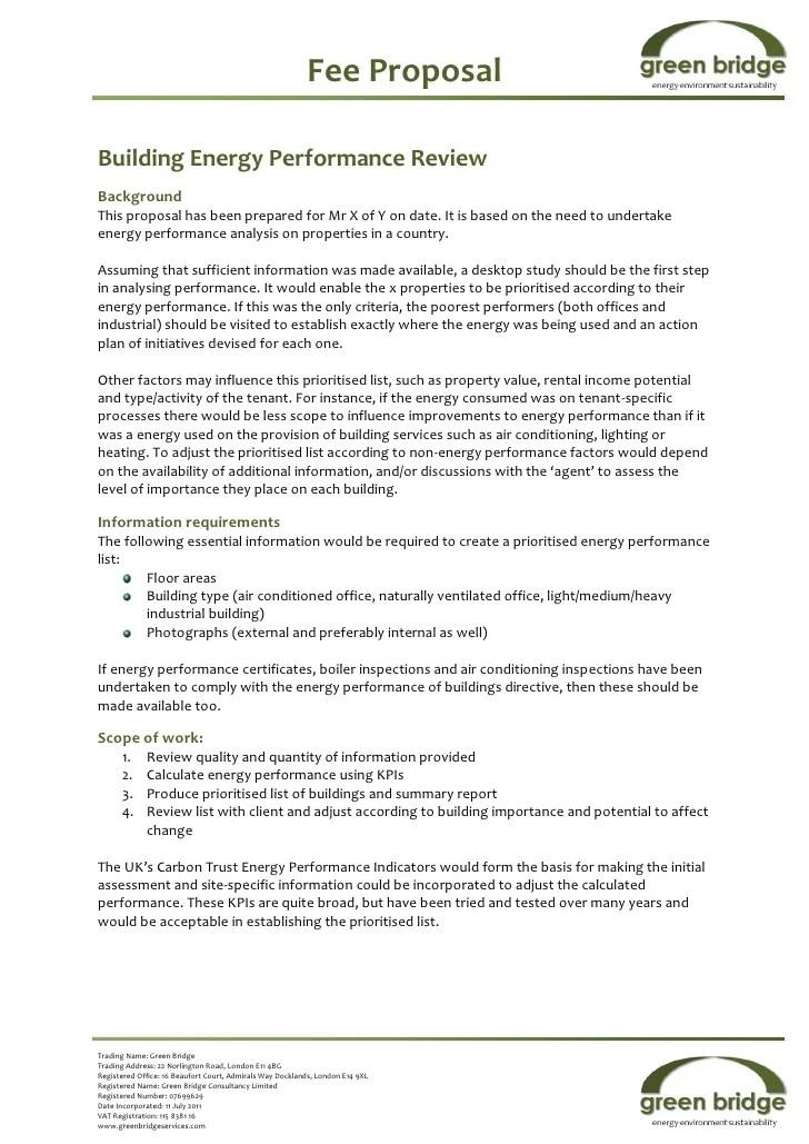 Sample Building Energy Performance Proposal Jan 2012