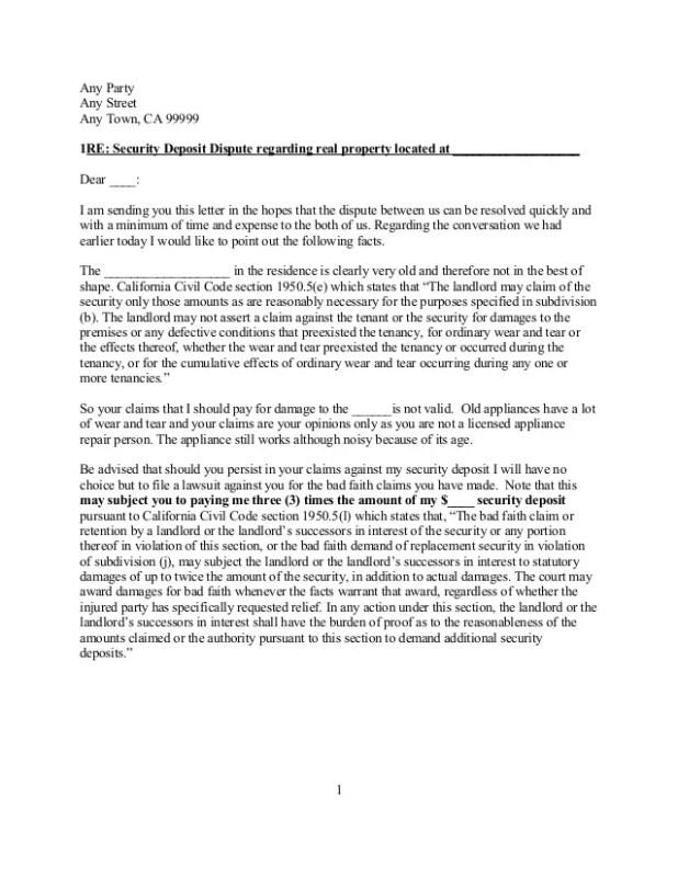 Landlord letter returning security deposit sample howtoviews free sample california security deposit dispute letter altavistaventures Choice Image