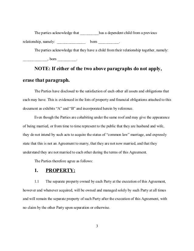 Legal Form Sample Cohabitation Agreement Create