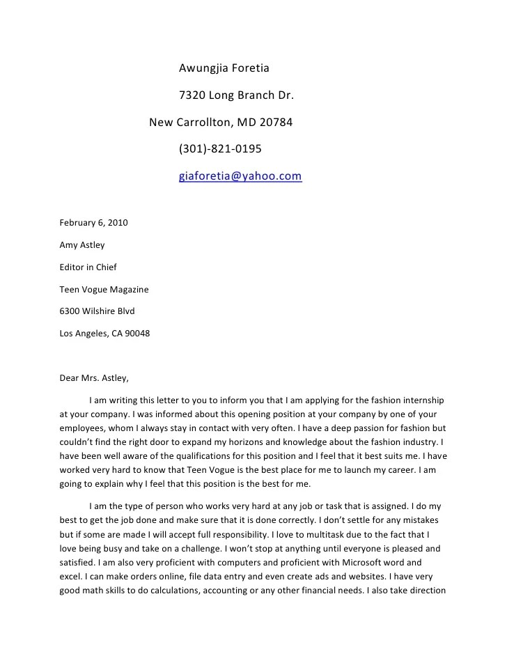 Sample teen cover letter free sexy butt for Cover letter for magazine job