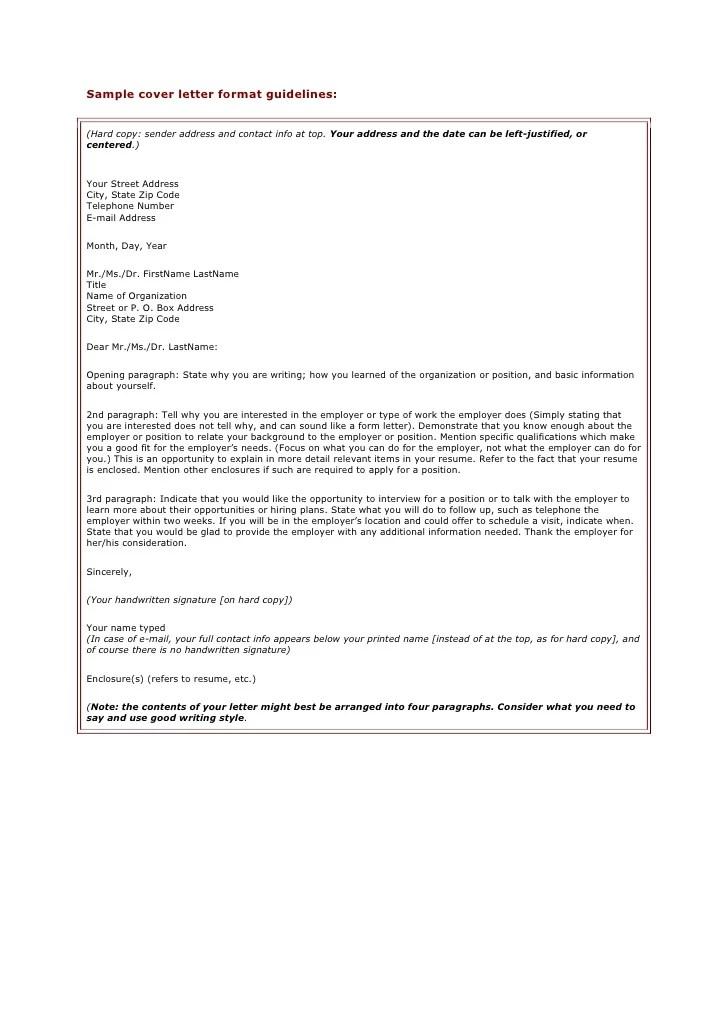 Sample cover letter format guidelines