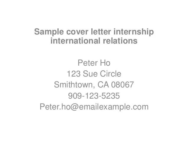 Sample cover letter internship international relations