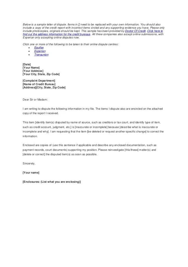 Sample Credit Report Dispute Letter