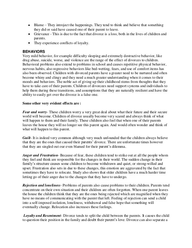 Divorce Essay Divorce Essay Causes And Effects The Effects Of