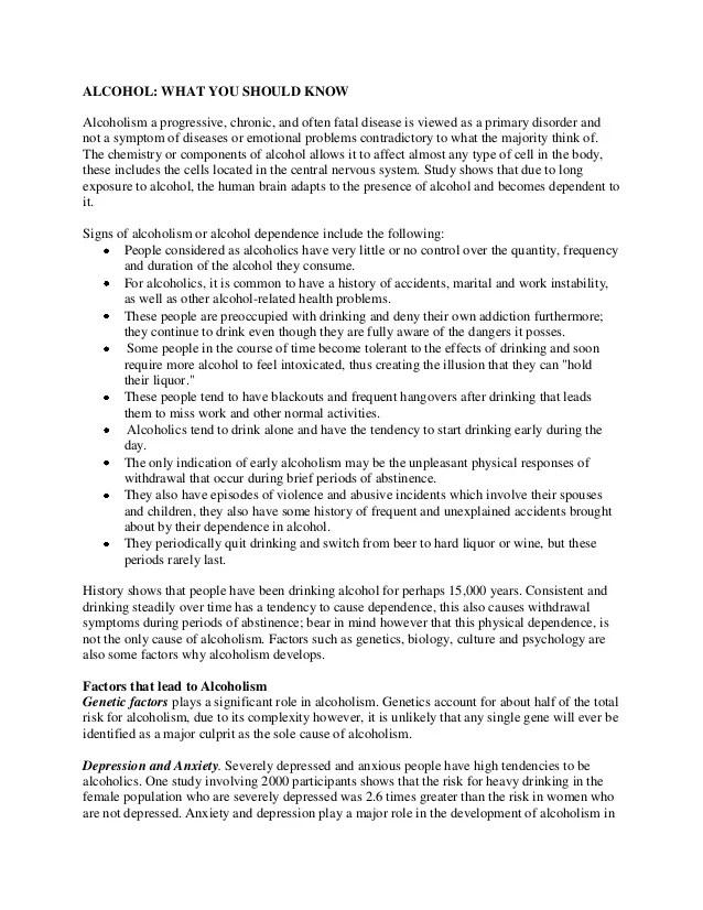 alcoholism essay titles