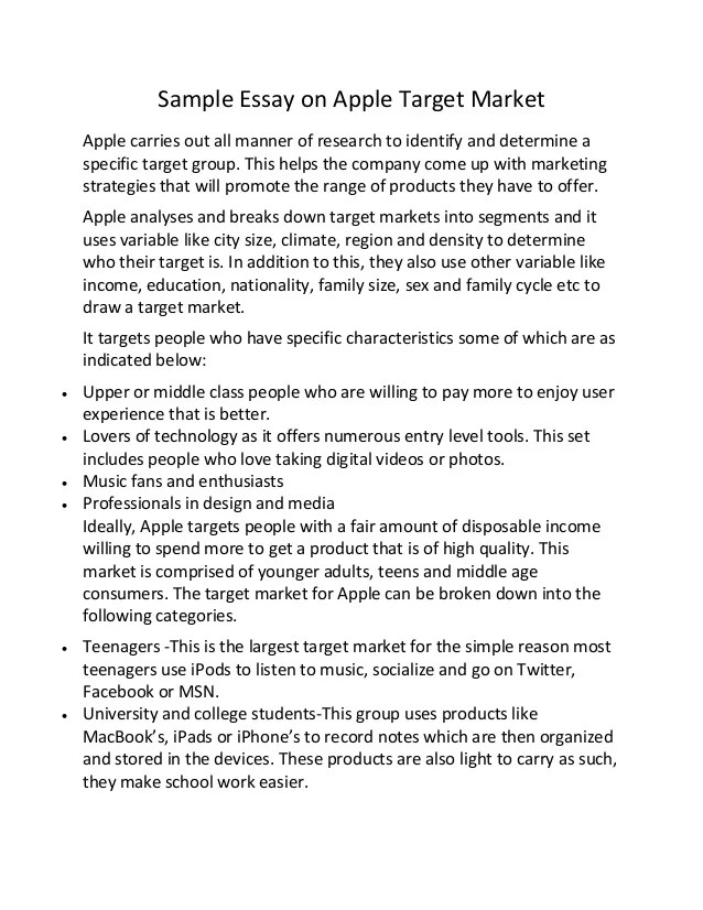 Sample Essay On Apple Target Market