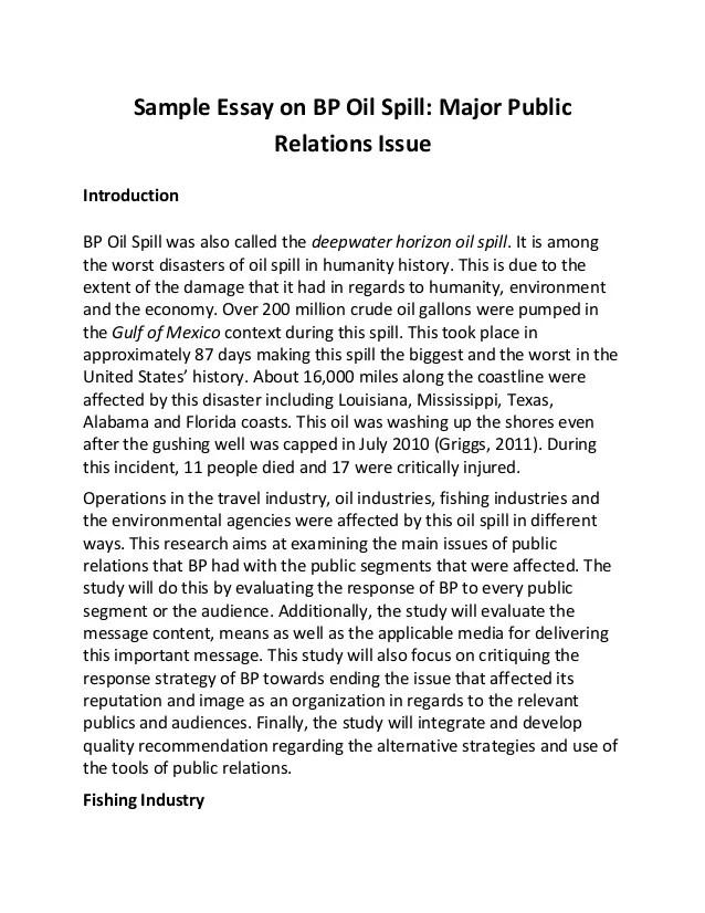 Sample Essay On Bp Oil Spill
