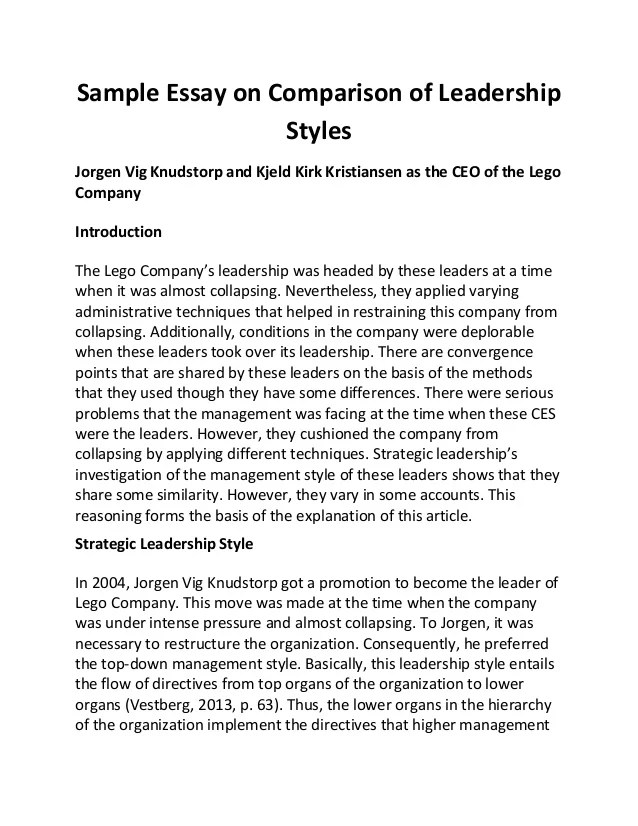 Essay Leadership Sample Essay On Comparison Of Leadership Styles