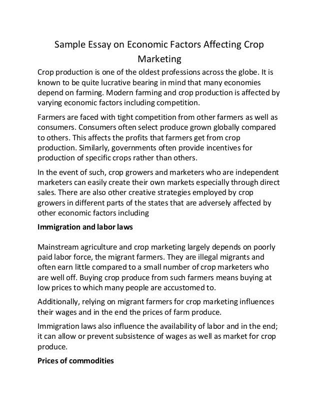 Economy Essay Sample Essay On Economic Factors Affecting Crop