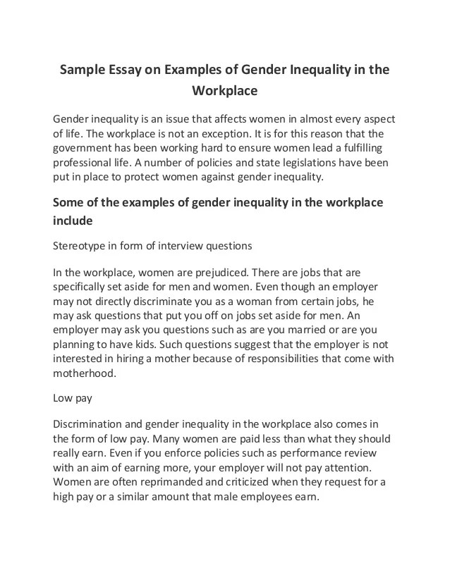 Gender Issues Essay Gender Equality And Women S Empowerment Are Key