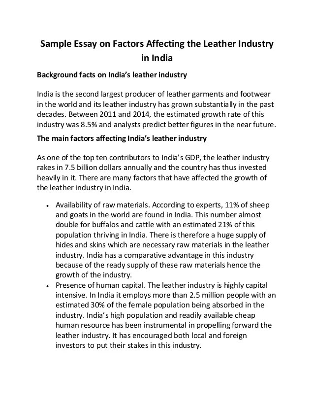Essay For India Sample Essay On Factors Affecting The Leather