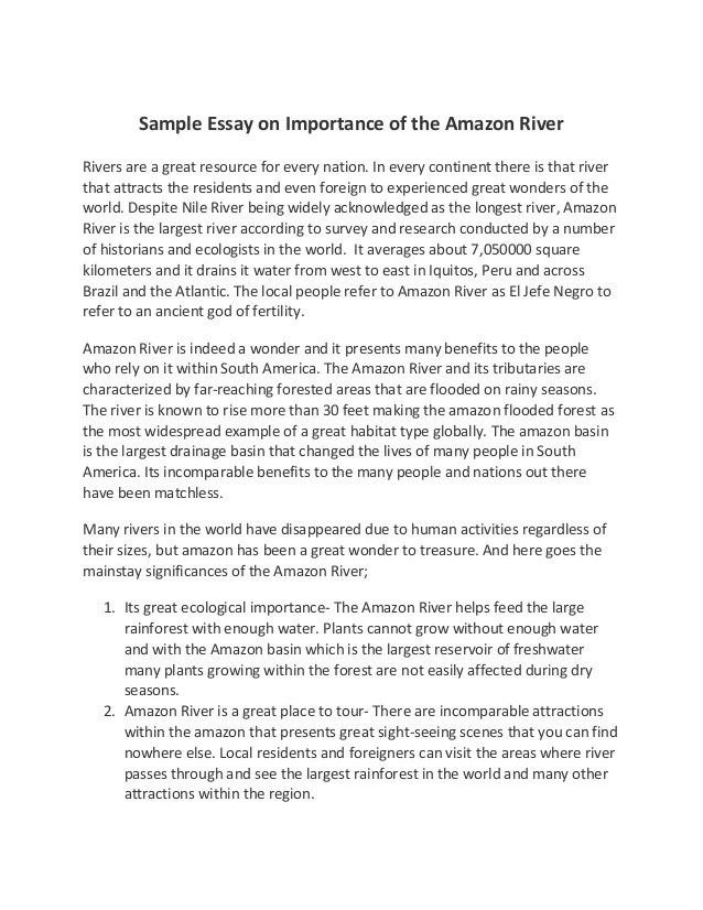 Sample Essay On Importance Of The Amazon River