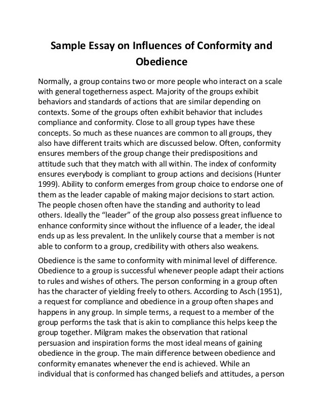 Sample Essay On Influences Of Conformity And Obedience