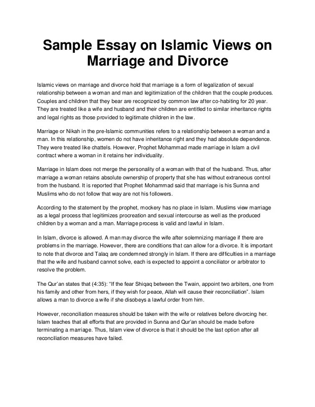 Sample Essay On Islamic Views On Marriage And Divorce