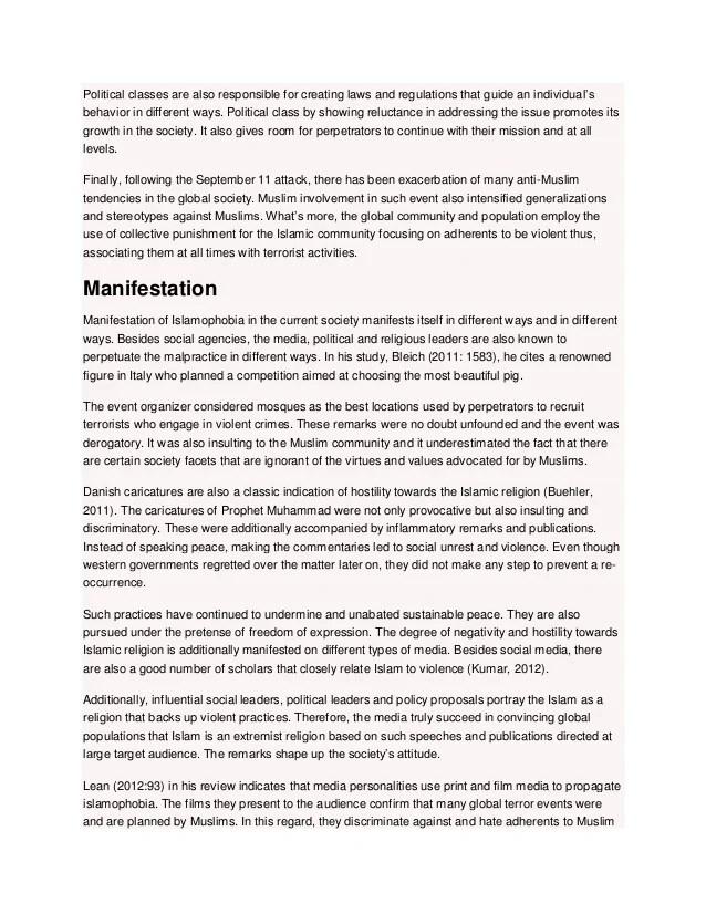 Terrorism And Islam Essay Sample Essay On Islamophobia Of Muslim