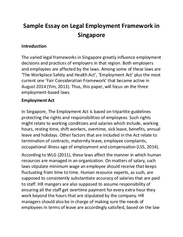 Sample Essay On Legal Employment Framework In Singapore