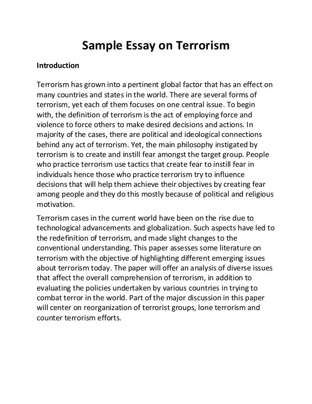 Sample Essay On Terrorism