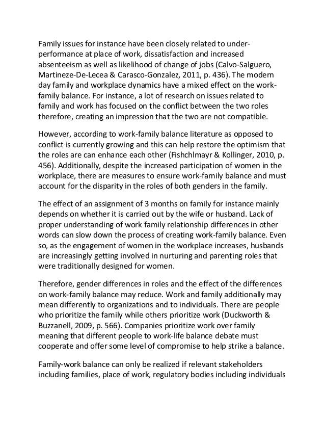 Sample Essay On Work Family Balance