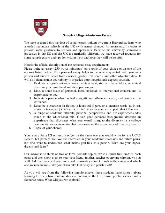 College Application Essay Examples Harvard Hospi Noiseworks Co