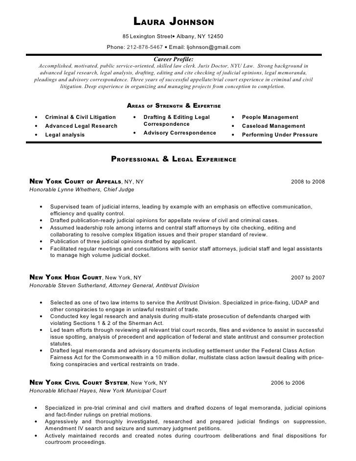 Sample Resume Judicial Law Clerk
