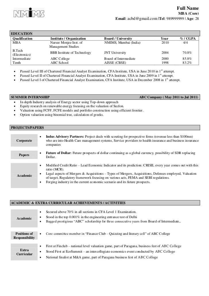 Resume Model For Be Freshers Resume Examples Resume Template