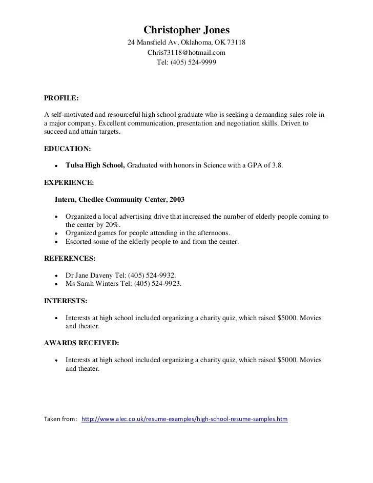 samples of good resumes - Sample Resume High School Student Academic
