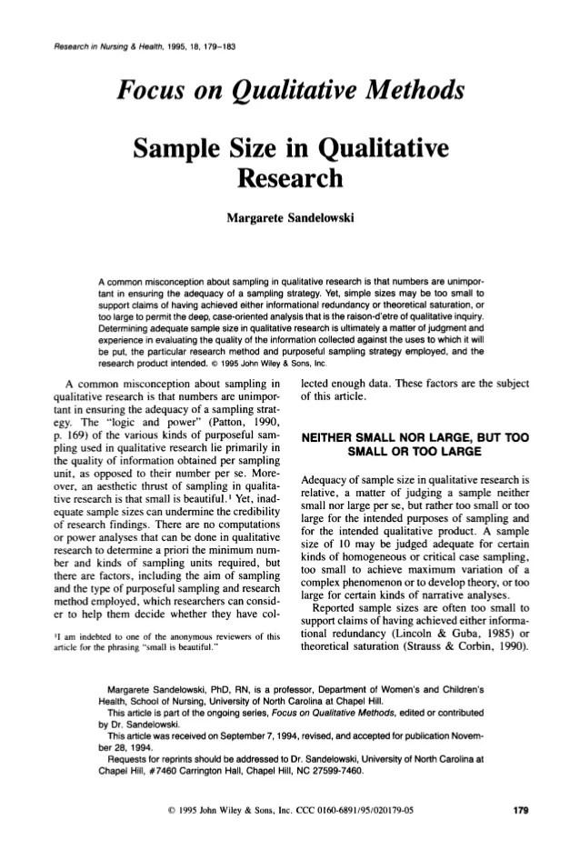 Sample Size In Qualitative Research Margarete Sandelowski