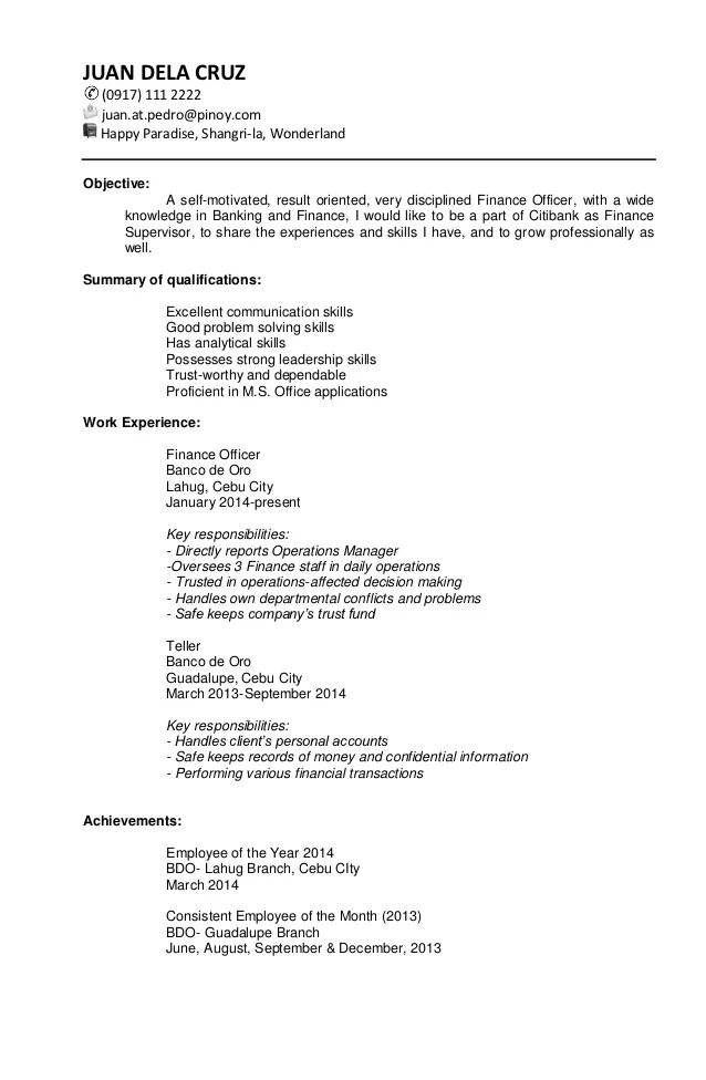 resume sample for ojt pdf