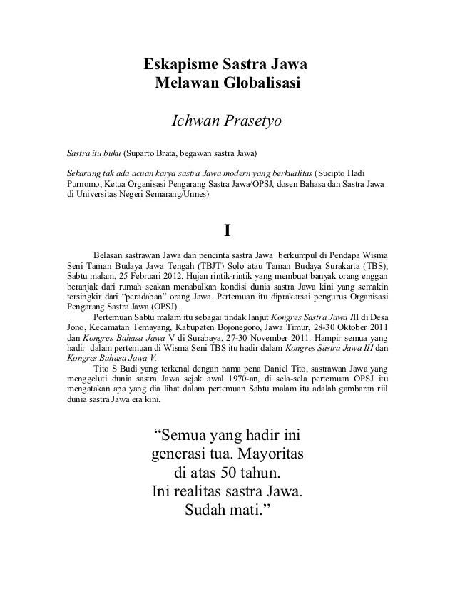 Puisi Bahasa Jawa Tentang Lingkungan : puisi, bahasa, tentang, lingkungan, Sastra, Melawan, Globalisasi